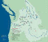 Map of Columbia River Basin dams